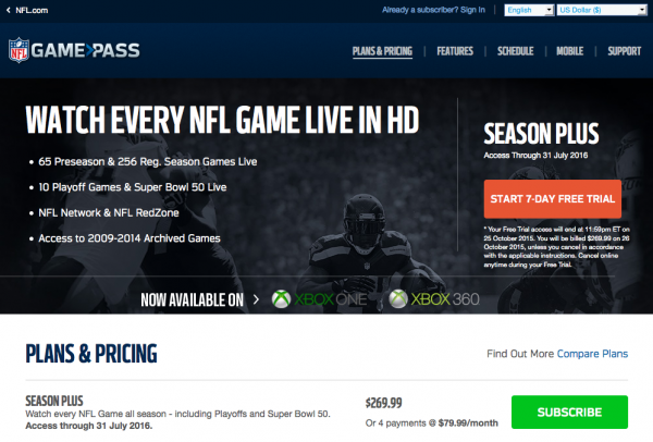 Unblock International NFL Game Pass in US - Avoid NFL Game Pass Blackouts