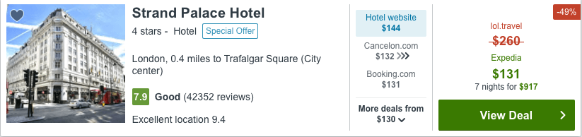 One Night Stay Cost from France Using a VPN