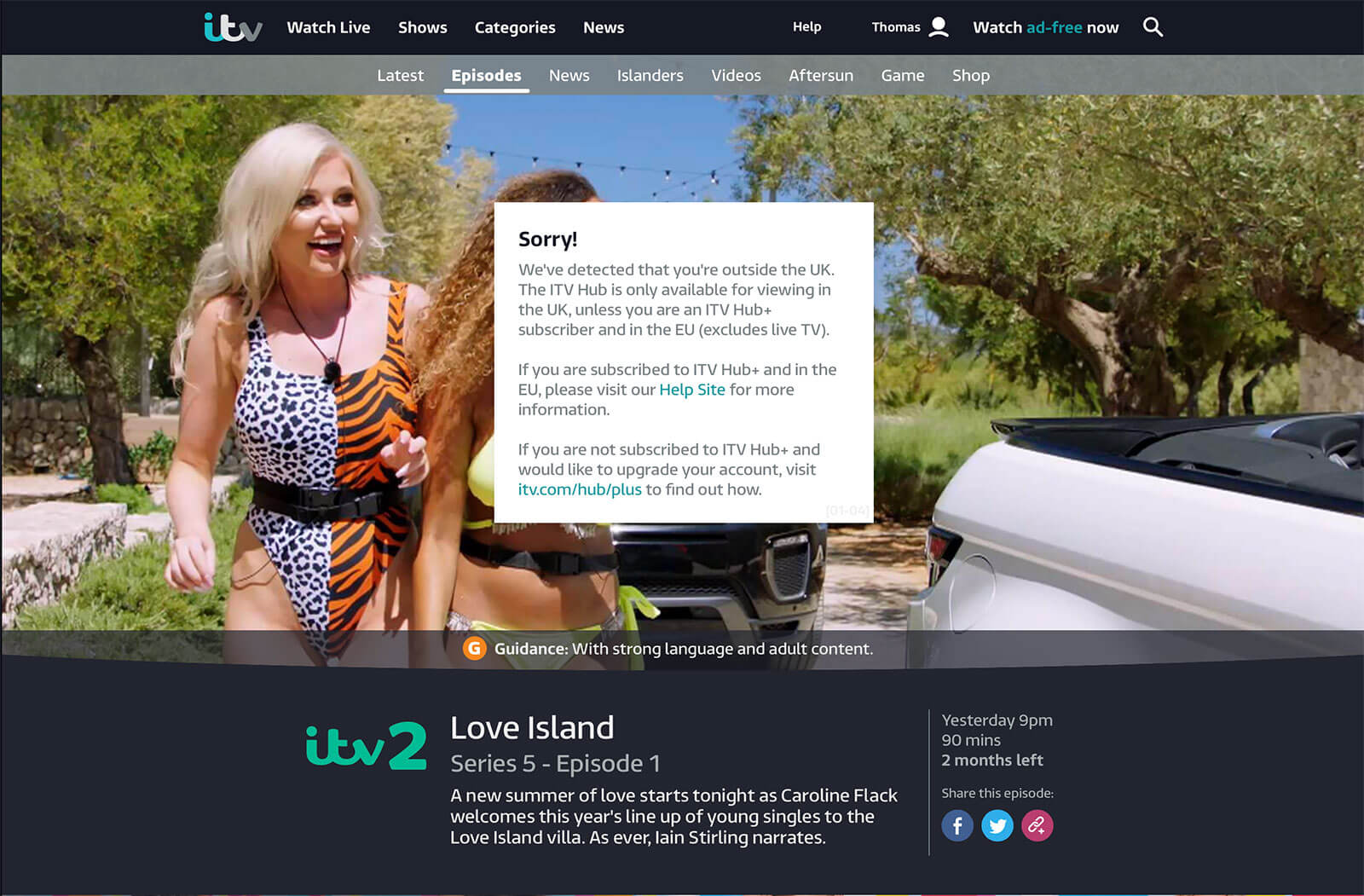ITV Hubb blocked